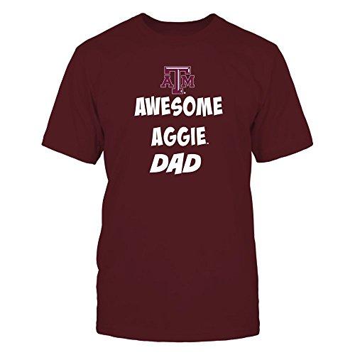 FanPrint Texas A&M Aggies T-Shirt - Texas Aggie Awesome Dad - Men's Tee/Maroon / 3XL
