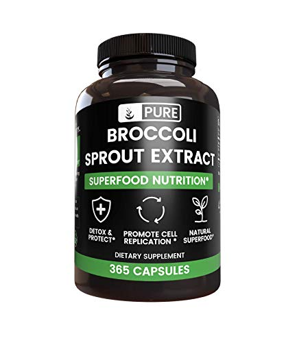 Natural Broccoli Sprout Extract, 365 Capsules, 880 mg per Serving, 100% Pure with No Artificial Color or Flavor, Gluten-Free, Preservative-Free, Made in The USA*