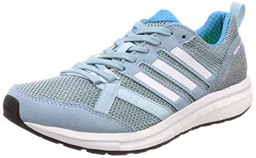 adidas Adizero Tempo 9 W, Zapatillas de Running para Mujer, Gris (Ash Grey S18/Ftwr White/Shock Cyan Ash Grey S18/Ftwr White/Shock Cyan), 35.5 EU