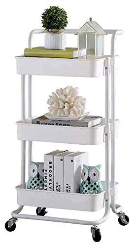 H.ZHOU Carro de almacenamiento multiusos con ruedas de 3 niveles, para cocina, baño, maquillaje, habitación de los niños (color: blanco)