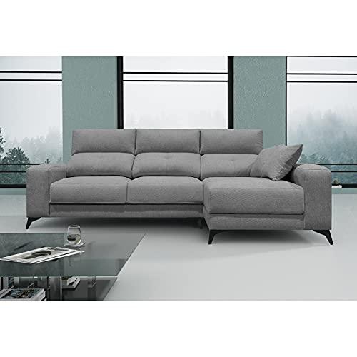 Shiito - Chaiselongue Reversible dcha/izq, tapizado en Color Gris y Patas en Negro. Cuenta con Cabezales reclinables, Asientos deslizantes y arcón en chaiselongue. Modelo Omar