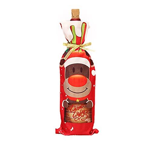 Mxhuc Tapa para botella de vino con diseño navideño con Papá Noel, muñeco de nieve, ciervo, decoración navideña, para fiestas, 12,5 x 34 cm