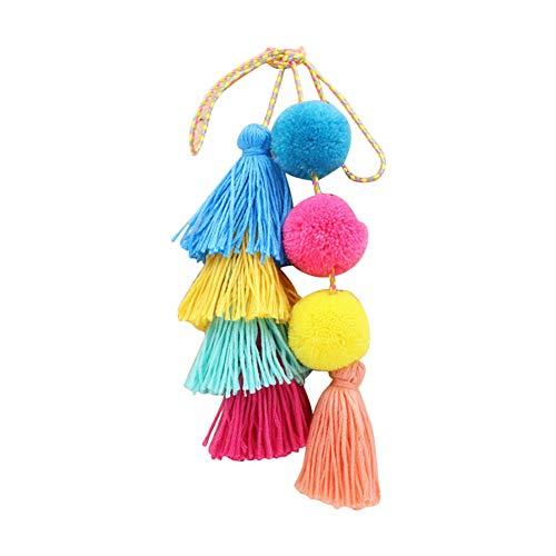 Nowbetter Pom Pom Quaste Schlüsselanhänger Faden Fransen Anhänger Schlüsselanhänger Bälle Auto Tasche Charm Ornamente für Frauen Mädchen – bunt
