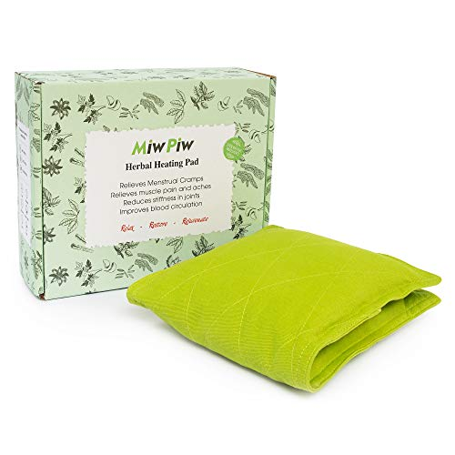 """Miw Piw Microwave Heating Pad for Cramps - Gift Box 14""""x 6"""" Bed Buddy Hot Therapy Relief Organic Herbal Bag Warmer Microwavable Moist Heat Pack Heated Bean Pillow Menstrual Stomach Back Neck Shoulder"""