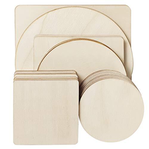 GDORUN 32 Stück Unbehandelte Holz-Quadrate und Runde Holzscheiben für Holzhandwerk, Brandmalerei, Malerei, DIY Untersetzer (32 Stück-200/150/100mm)