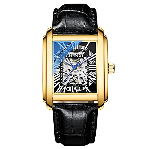 Shmtfa Relojes Cuadrados para Hombre Relojes Pulsera MecáNicos AutomáTicos con Cuerda Elfa 3ATM CronóGrafo Luminoso Impermeable con Correa Cuero para Hombres DecoracióN Informal(Negro)