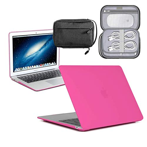 GUPi - Hot Pink Hard Shell Case, Cover with Water Resistant Accessory Bag for Apple MacBook Pro [13-inch Pro A2159 (Touch Bar) - 2019]