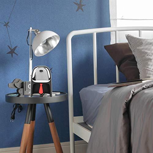 Ichiias Reloj Despertador Inteligente, Reloj Despertador, Apariencia de Caballero Multifuncional para Dormitorio, Sala de Estar, niños, Adultos(Black)
