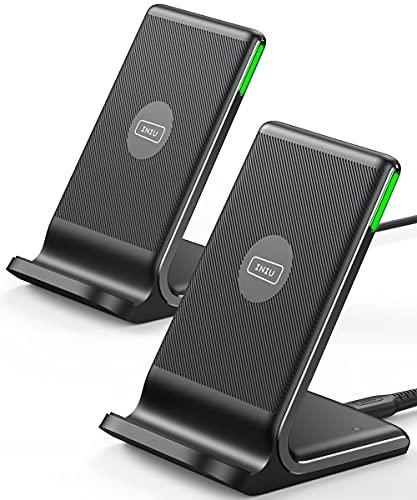 INIU Cargador Inalámbrico Rápido[2Pack], 15W Qi Wireless Charger Estación Compatible con iPhone 13 12 11 Pro MAX XR XS X 8 Plus Samsung Galaxy S20 S10 S9 S8 Note10 9 AirPods Huawei Xiaomi etc