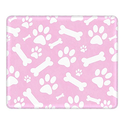 Pink White Dog Paw Prints Bones Abstract Mouse Pad, Customized Gaming Mouse Mat, Square Waterproof Mouse Pad Non-Slip Rubber Base MousePads for Office Home Laptop Travel, 9.8x11.8 inch