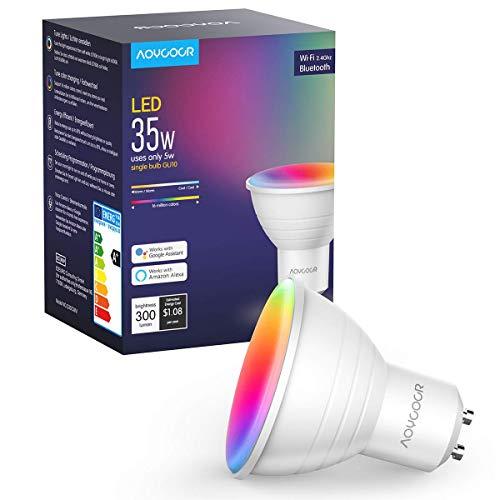 Smart WLAN LED Lampen GU10 Wifi Glühbirnen, Aoycocr warmweißes Licht, 35W, 2700-6500K+RGB, Bluetooth lampe, Musik dimmbar, Smart Home steuerbar via App, Kompatibel mit Alexa Google Home