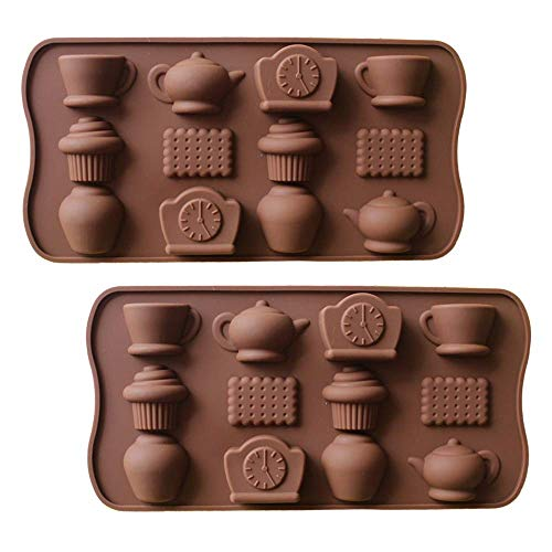 2 Pack Tea Time Silicone Molds Afternoon Tea Teapot Coffee Cups Biscuit Silicone Chocolate Candy Mold Ice Cube Trays (Random Color)
