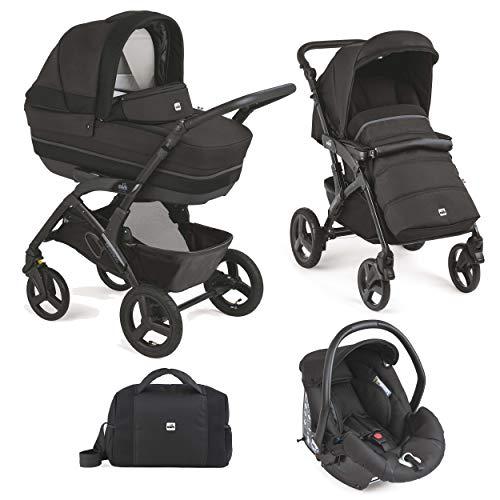 CAM 3 in 1 Kombi Kinderwagen Modell Rover Kinderwagen/Buggy/Autositz/Tasche hochwertige Materialen Made in Italy (sport schwarz)