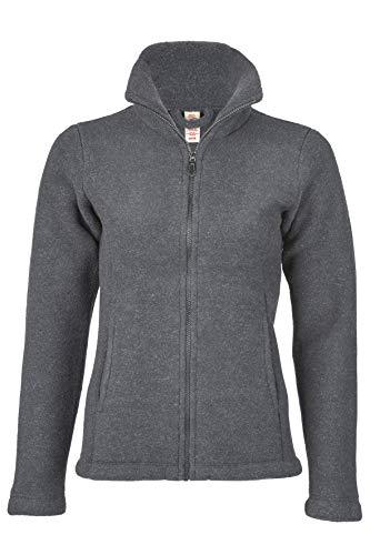 Engel Damen Fleece Jacke, 100% Schurwolle, Natur, Gr. 34/36-46/48, 2 Farben (46/48, Schiefer)