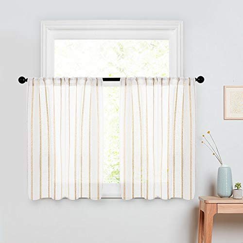 MRTREES Striped Sheer Curtain Tiers 36 inch Length Kitchen Window Linen Textured Sheers Pinstripe Bathroom Short Curtain Panels Rod Pocket Cafe Curtains Light Filtering 2 Panels - Ivory Stripe
