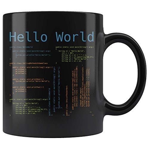 Hello World, programador informático, codificación, taza de café, 11 onzas, novedad, regalo, café, taza de té, lenguaje de programación para desarrolladores JS Javascript