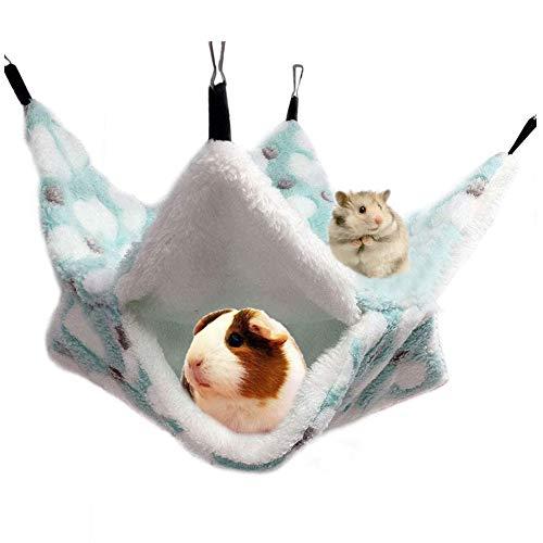 Amaca per animali domestici di piccola taglia, letto a castello a doppio strato, giocattolo per la casa che gioca e dorme, per criceti, porcellini d'India, topi (verde)