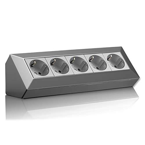 Eck-Steckdose Schuko, USB für Küche, Büro, Werkstatt. Steckdosenleiste für Küchen-Arbeitsplatte, Aufbausteckdose oder Unterbausteckdose - ohne Kabel, Kunststoff groß:5 F grau