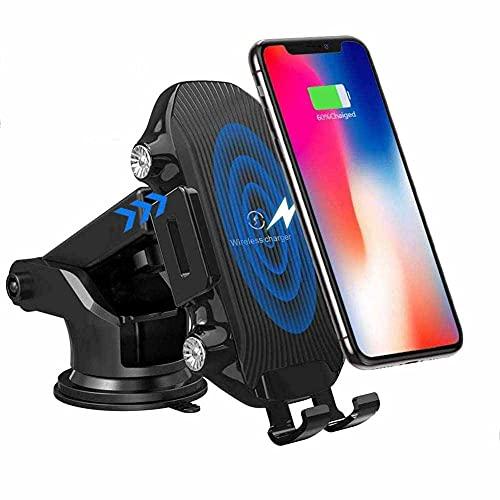 MRTYU-UY Cargador de coche inalámbrico, 10 W de carga rápida de sujeción automática de ventilación de aire Dashboard soporte del teléfono, para iPhone 11 11 Pro 11 Pro Max XR XS X 8 Galaxy 10 S9