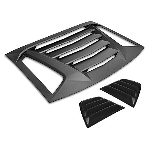 IKON MOTORSPORTS | Window Louver Compatible With 2011-2020 Dodge Charger, V2 Style,Rear Louver and Side Quarter Scoop Louvers