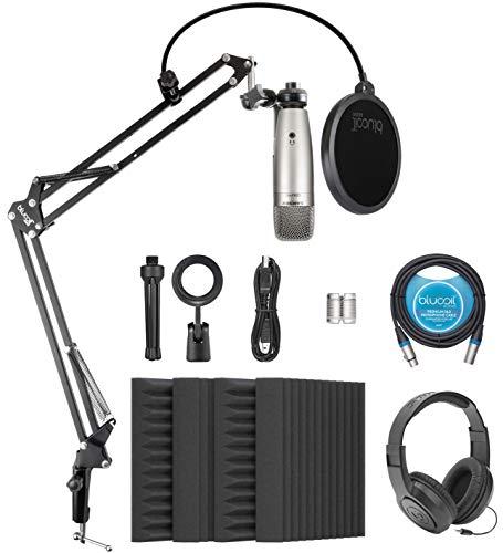 "Samson C01 Large-Diaphragm Condenser Microphone for Vocal and Instruments Bundle with Blucoil 4x 12"" Acoustic Wedges, 10-FT Balanced XLR Cable, Boom Arm Plus Pop Filter, and Samson SR350 Headphones"