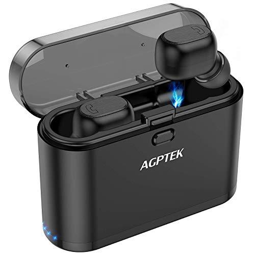 AGPTEK Auricolari Bluetooth 5.0 Cuffie Wireless Bluetooth IPX5 Stereo in Ear Sportivi con Durata di Custodia 30H Riproduzione e Microfono per iPhone e Android, Nero