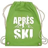 Après Ski - Après-Ski Motiv mit Bergen - Unisize - Hellgrün - WM110_Stoffbeutel - WM110 - Turnbeutel und Stoffbeutel aus Baumwolle