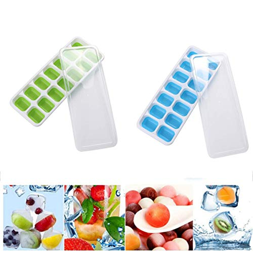 Silicone Ice Cube Tray, 14 Ice Molds, Ice Cream Maker Mold Molds Best for Freezer, Baby Food, Water, Whiskey, Cocktail and Other Drink Green and Blue (2 Pack)