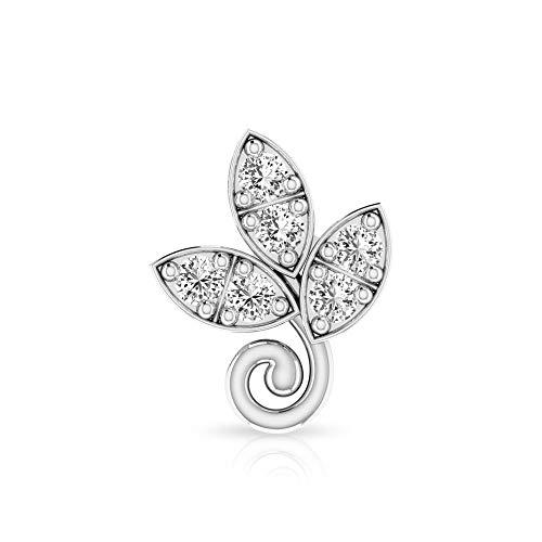 Floral Cartilage Earring, SGL Certified 0.11 Ct Diamond Stud Earring, Petal Climber Earring, Helix Conch Piercing, Body Jewellery, 10K White Gold Push Back 8mm