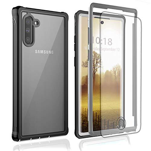 BESINPO Galaxy Note 10 Hülle, Stoßfest Transparent Hülle 360 Grad R&umschutz mit Kostenfreier Schutzfolie, Robust Bumper Handyhülle Schutzhülle für Samsung Note 10 (Schwarz/Grau+ Klar)