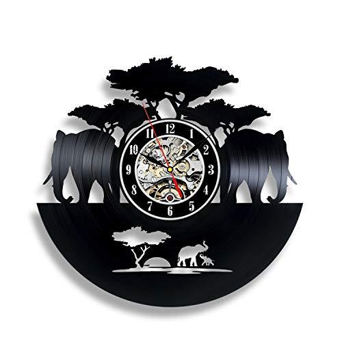 wtnhz LED-Reloj de Pared con Elefante, Personalidad para habitación de niños, Regalo para bebé, decoración para Dormitorio, habitación para niños, Reloj de Pared Creativo para niña DIY