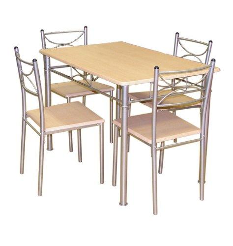 Celine - Juego de mesa y 4 sillas (111 x 71 x 76 cm)