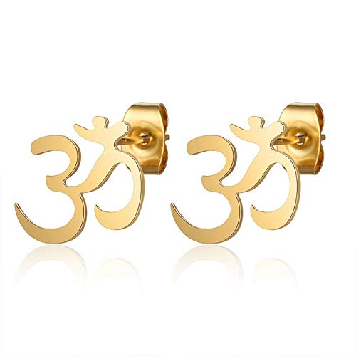 316L Stainless Steel Hamsa Hand Om Yoga Stud Earring For Women Simple Jewelry Gift Never Tarnish