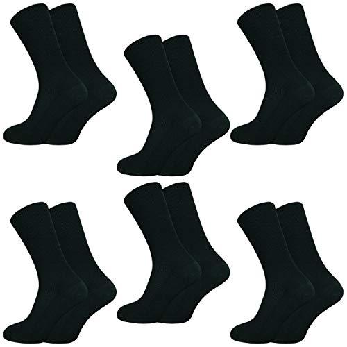 6 | 12 | 18 Paar Venensocken ohne drückende Naht – Socken ohne Gummi – Damen & Herren – Gesundheitssocken mit Komfortbund (39-42, Schwarz, 6 Paar)