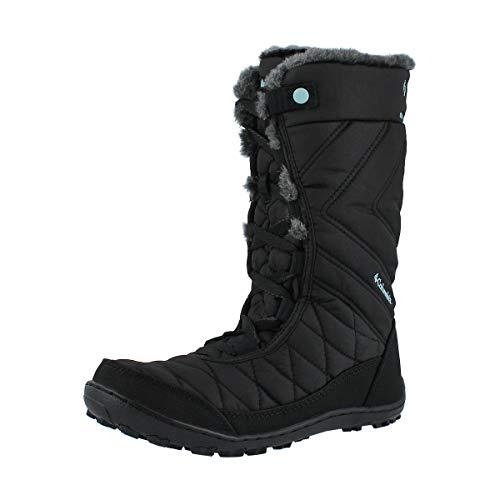 Columbia Girls Minx Mid III Waterproof Omni-Heat Hiking Boot, black/iceberg, 4 Big Kid