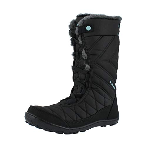 Columbia Girls Minx Mid III Waterproof Omni-Heat Hiking Boot, black/iceberg, 4 Big Kid
