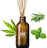 Focusing Hemp Rosemary Peppermint Aromatherapy Reed Diffuser | 100% Pure Essential Oils | Home Fragrance | 10 Reed Diffuser Sticks and 4 oz Bottle | Hand Made in The USA