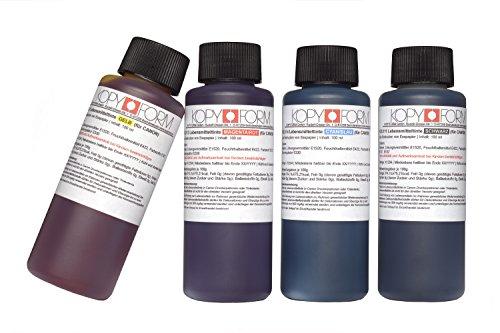 KOPYFORM Lebensmitteltinte 4x100ml Set (Schwarz, Gelb, Magenta, Cyan) für Canon-Drucker, z.B. G1501 (KOL110)
