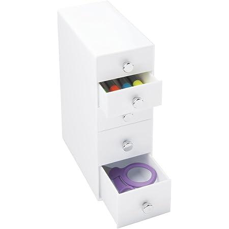 mDesign boite de rangement a tiroir – organiseur de bureau avec 2 petits et 3 grands tiroirs – trieur de bureau pratique pour un espace de travail en ordre – blanc