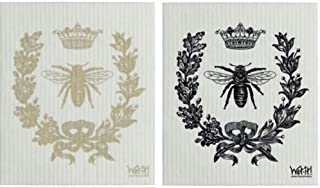 Wet-It Swedish Treasures Dishcloth Set of 2 (Black & Gold French Bee)