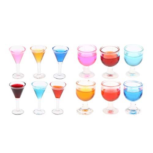 Sharplace 12 Piezas de Copas de Vino de Cóctel de Colores para 1/12 Dollhouse Bar Pub Accesorio