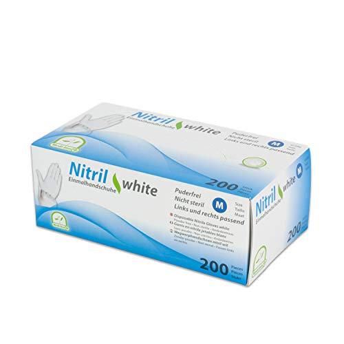 WORK-INN Einweghandschuh in Größe XL |200 Stück | Nitril Einzelhandschuhe Weiß in praktischer Spenderbox | Ideal für Hygienebereiche - wie Lebensmittelbranche, Kosmetik UVM. | latexfrei