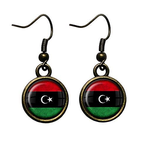 Libya Libyan Flag Libysche Libysche Flagge Antike Bronze Ohrringe