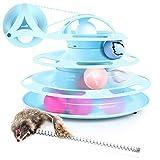 Juguete para Gatos con Diseño de Torre con 4 Pelotas de 4 Niveles,con Catnip Bola y Palo Divertido de Forma Ratón,Antideslizante y Facil de Desmontar