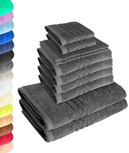 Lavea 10-teiliges Handtuchset Elena - Anthrazit, 4 x Handtuch, 2 x Duschtuch, 2 x Gästetuch, 2 x Waschhandschuh, 100% Baumwolle