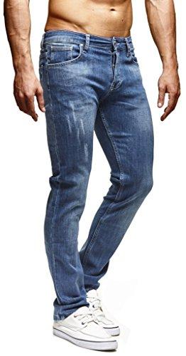 Leif Nelson Herren Jeans Hose Slim Fit Denim Blaue graue Lange Jeanshose für Männer Coole Jungen weiße Stretch Freizeithose Schwarze Cargo Chino Sommer Winter Basic LN271BL Blau W29/L32
