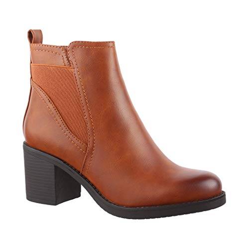 Elara Damen Stiefelette Ankle Boots Chunkyrayan 3828 Camel-39