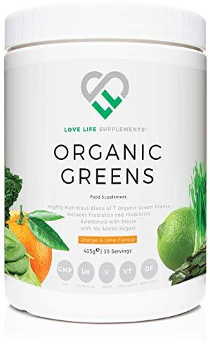 Organic Greens di LLS | 405g - 30 porzioni | Contiene 7 ingredienti biologici: Inulina, Cavolo nero, Spirulina, Spinaci, Seagreens, Erba di grano, Clorella plus Lactospore (arancia e lime)