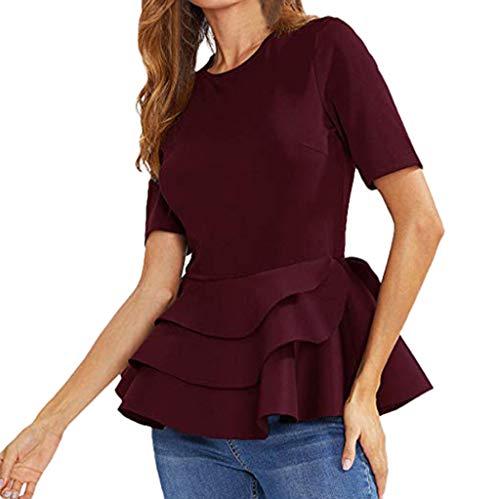 iHENGH Damen Top Bluse Lässig Mode T-Shirt Frühling Sommer Bequem Blusen Frauen Kurzarm Jahrgang geschichtet Rüsche Saum Fit Solid Schößchen Bluse Shirt Top(Wein, L)