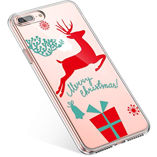 Kompatibel mit Handyhülle iPhone 8 Plus/iPhone 7 Plus Hülle Transparent Silikon Ultra Dünn Schutzhülle Durchsichtig Handyhülle Kristall Weiche Silikon TPU Handytasche Rückschale,Weihnachten Geschenk
